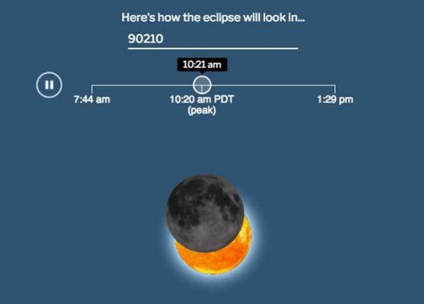 Animated Simulation Shows What The Eclipse Will Look Like In Your Zip Code