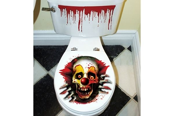 Creepy Carnival Clown Toilet Seat Cling Neatorama