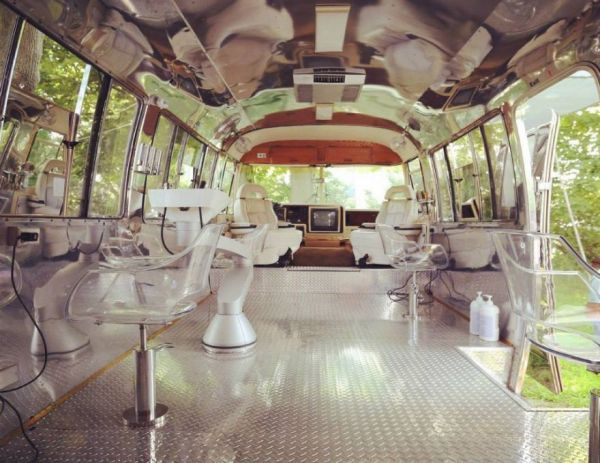 a luxury hair salon inside a restored airstream trailer. Black Bedroom Furniture Sets. Home Design Ideas