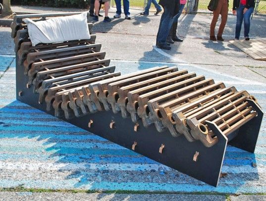 The CNC Music Factory, An Art Collective, Won First Prize At The Seattle  Design Jam For This Lounge Chair Made From Old Cast Iron Radiators.