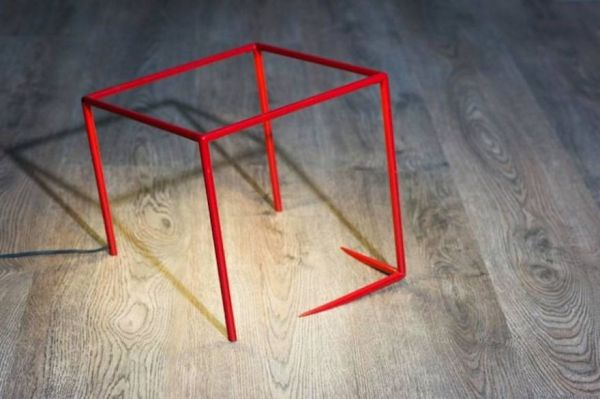 Optical Illusion Cube Lamp Sinks Into The Table Neatorama