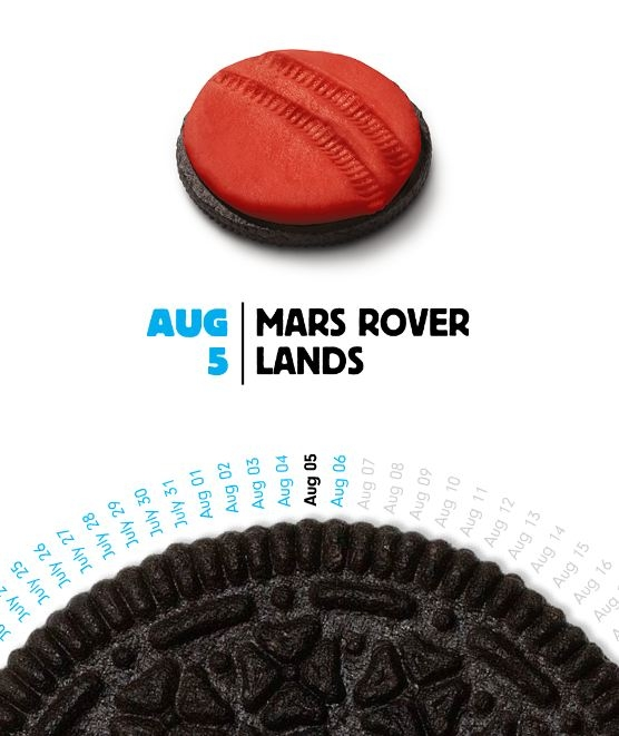 Oreo cookie that looks like the Curiosity rover moved over it
