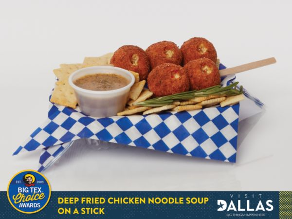 Deep Fried Chicken Noodle Soup on a Stick