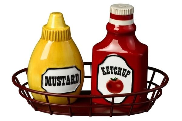 Ketchup and mustard bottle