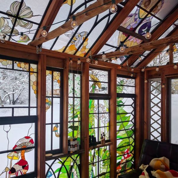 Cabin Glass Window : A beautiful stained glass cabin straight from fairytale