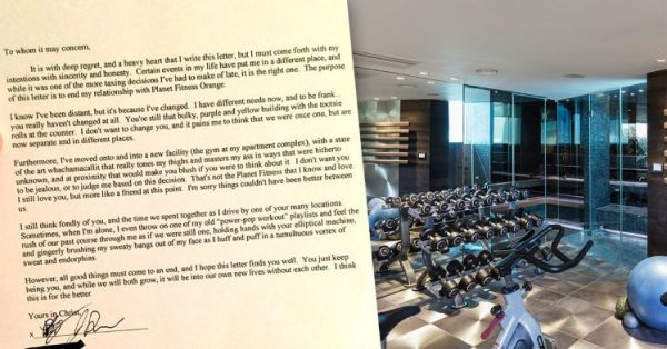 Guy Writes A Hilarious Breakup Letter To His Gym