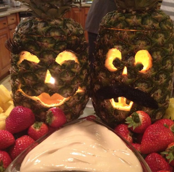 Add some new flavor to halloween by carving a pineapple