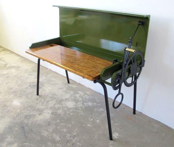 beautiful desk inspired by farm machinery neatorama