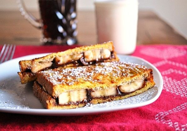 Nutella and banana stuffed French toast