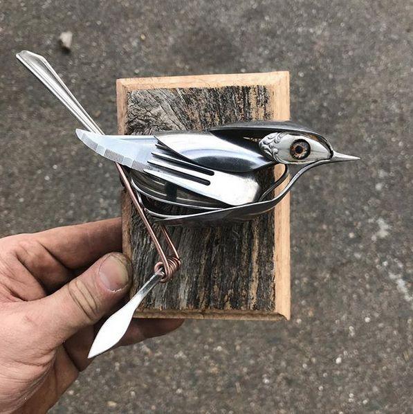 Delightful Bird Sculptures Made From Silverware And Kitchen Utensils    Neatorama