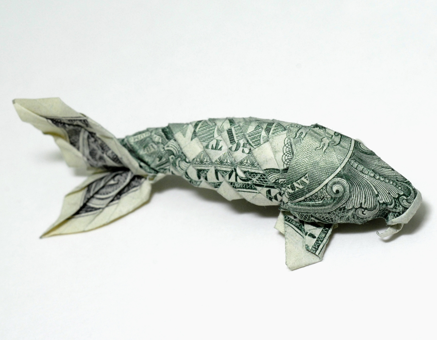 Money origami koi neatorama for Origami koi fish