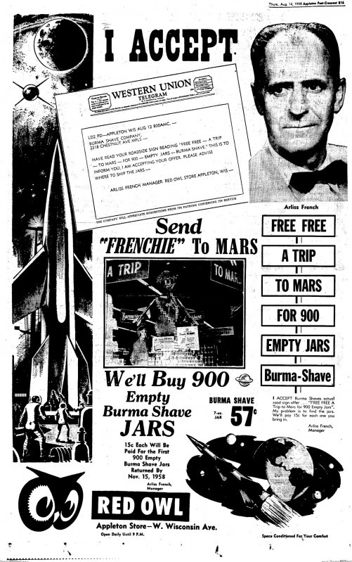 """Free. Free. A Trip. To Mars. For 900. Empty Jars ..."