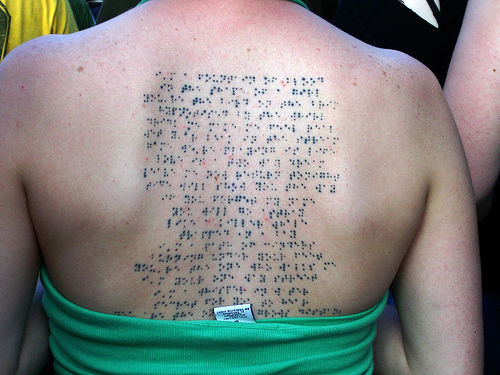 modern tattoo. Braille Tattoo of Björk Song