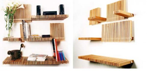 These Slatted Bookshelves From Picked By Hand Not Only Look Cool, Theyu0027re  Also Super Functional, Allowing The User To Bend Their Shelves Up Or Down  As ...