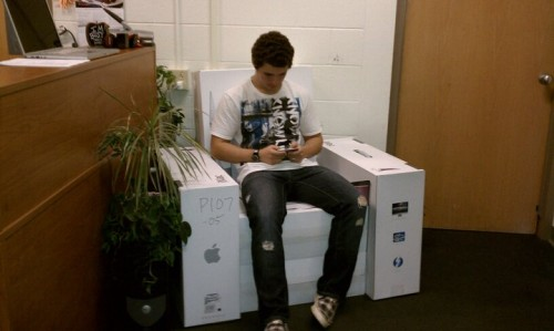 Nick McBride Of Juniata College Sent In Pictures Of Some Fun His Department  Had With Leftover Macintosh Computer Boxes. They Made Furniture Out Of Them!
