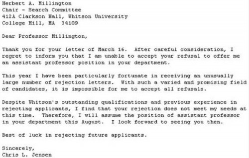 The best response to a rejection letter ever neatorama sample job the best response to a rejection letter ever neatorama expocarfo Images
