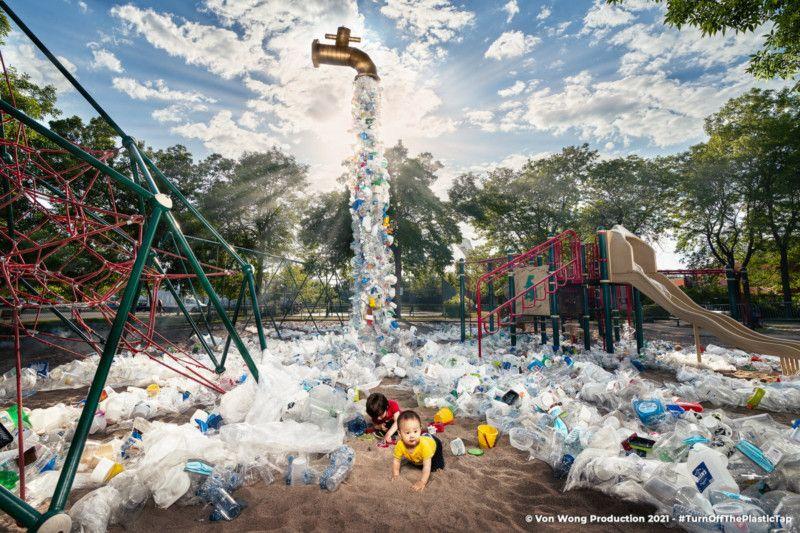 Benjamin Von Wongs Giant Floating Faucet Raises Awareness Of Plastic Pollution