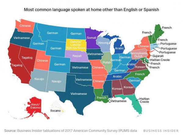 The Most Common Language in Each State, Excluding English and Spanish