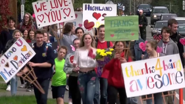 Students Gather To This Woman's House To Say Farewell