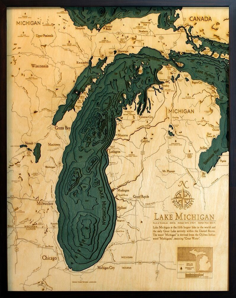 Intricately Carved Wooden Nautical Charts