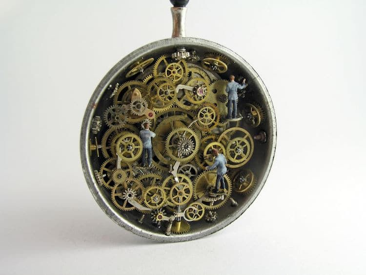 Artist Encases Incredibly Detailed Miniature Worlds Inside Antique Pocket Watches