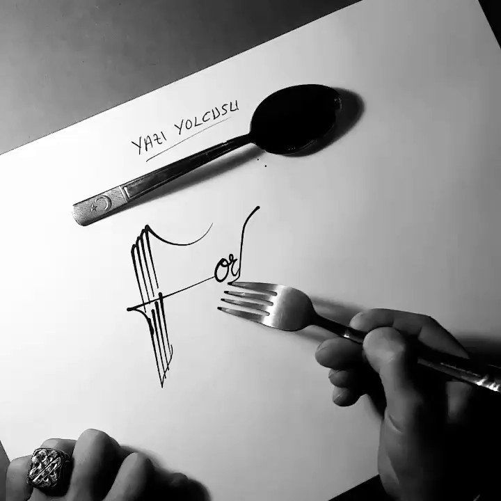 Yazi Yolcuzu's Forkligraphy is Calligraphy on a Whole 'Nother Level