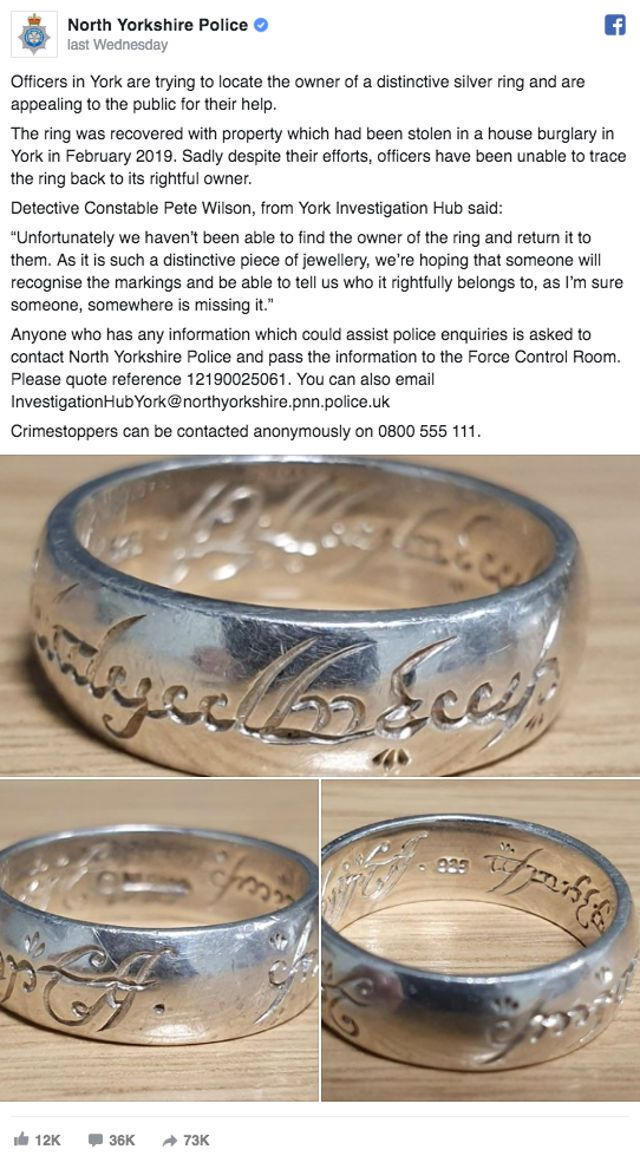 Police Ask for Help Finding the One Ring's Rightful Owner