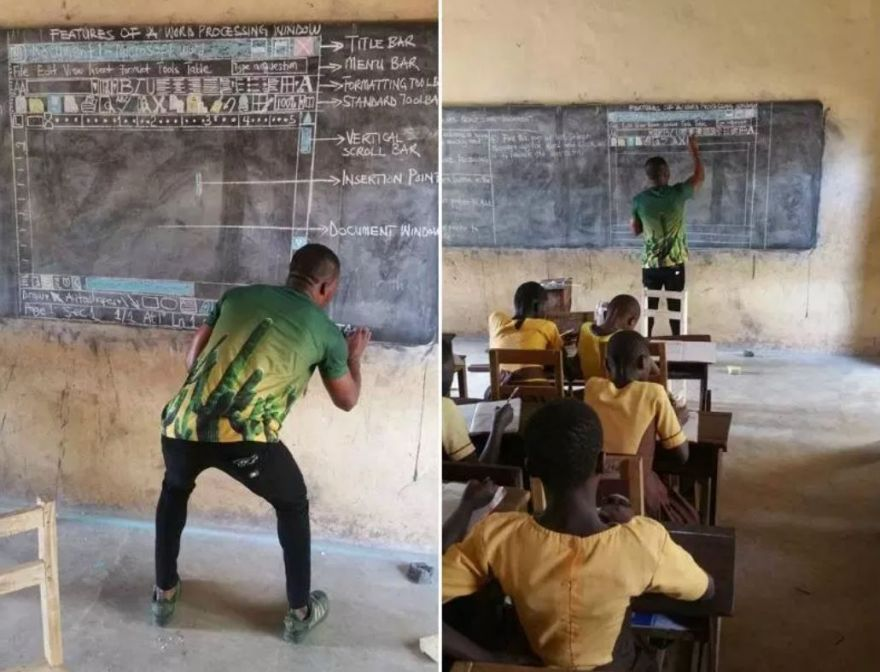 No Computers in the Classroom? No Problem: Teacher in Ghana Draws Out a Microsoft Word on the Blackboard