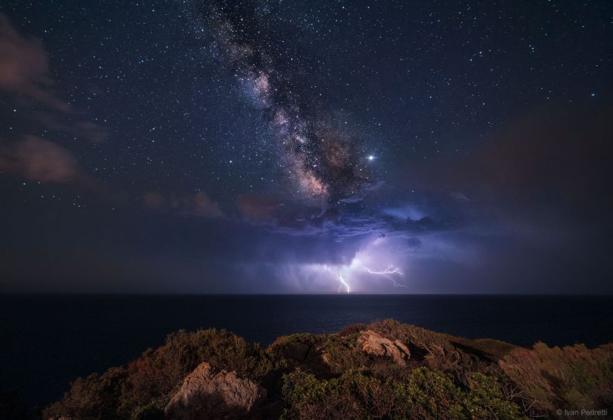 NASA Features Photo of Lightning Strike Underneath the Milky Way