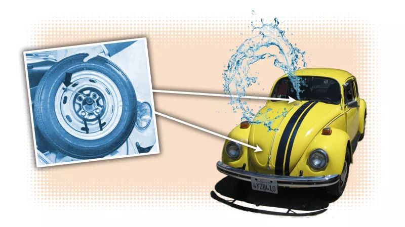 Old Volkswagen Beetles Used Spare Tires to Clean the Windshield