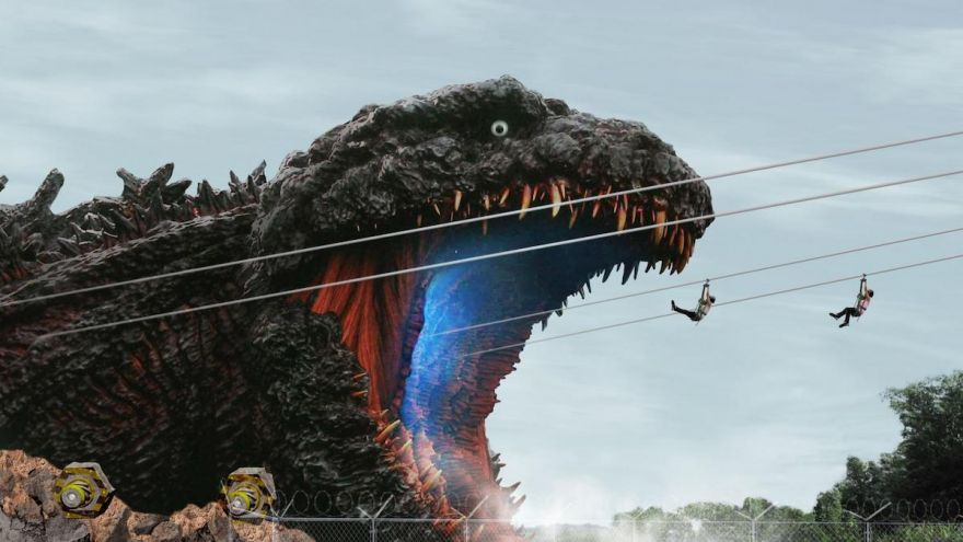 Zipline Straight To Godzilla's Mouth!