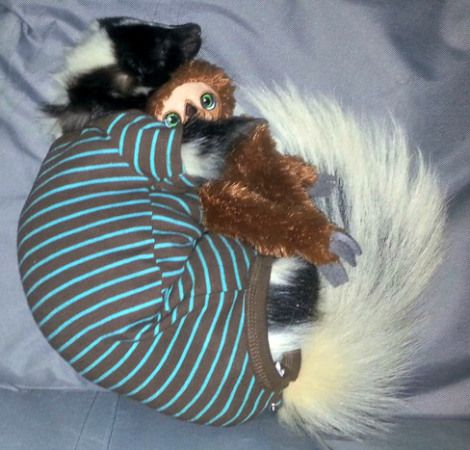 A Baby Skunk In Pajamas Cuddling With A Toy Sloth - Neatorama