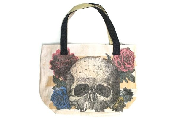 f5f85b474a Skull and Flower Tote Bag