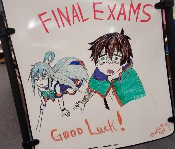 KonoSuba Art Cheers On College Students