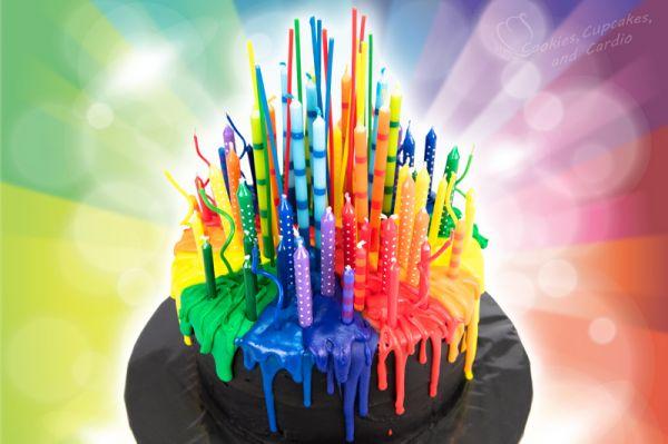 Melting Candle Rainbow Cake Neatorama