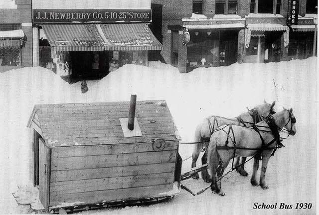 Horse-Drawn Heated School Bus in Northern Maine