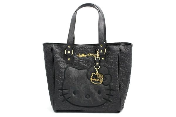 be4e3d4679 Hello Kitty Black Embossed Face Tote
