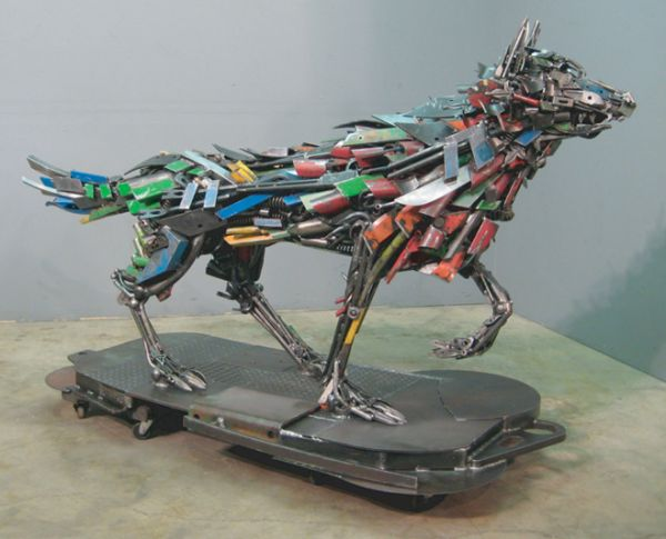metal menagerie beasts fish and birds by steel pond