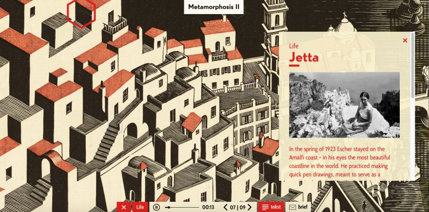 An interactive site where you can explore hi-res work of M.C. Escher and make your own metamorphosis with the Metamorphosis Machine in three steps