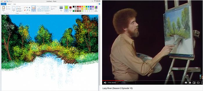 This Girl Followed Bob Ross's Tutorial Video And Painted Using MS Paint. The Result Was A Masterpiece