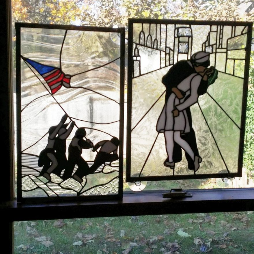 Iconic World War II Photos in Stained Glass