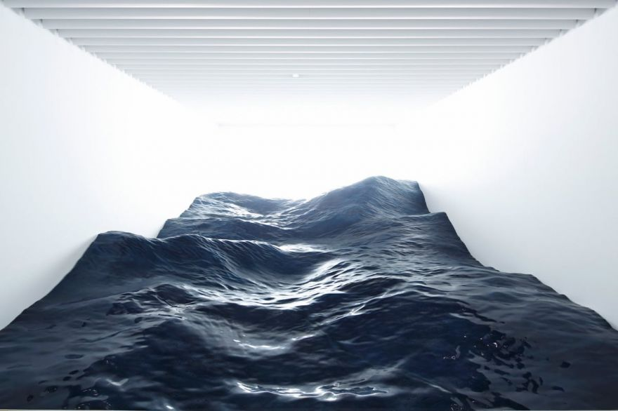 Japanese Incredible Ocean Wave Art Installation Floods the Entire Room