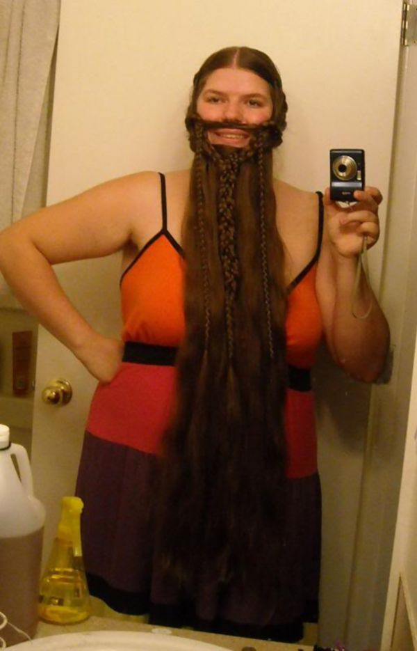 Ladies Who Braided Their Hair Into Beards That Would Make