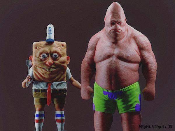 realistic face Spongebob