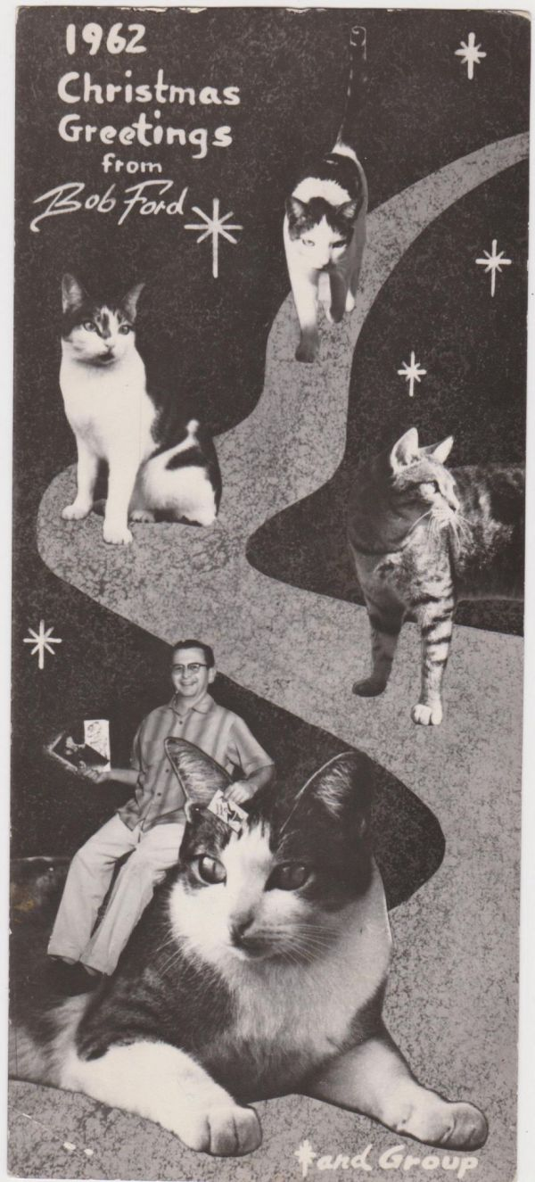 Family pets in vintage christmas cards neatorama in the mid 20th century families had a lot of fun designing holiday greeting cards in which printers would cut and paste photographs often combining them m4hsunfo