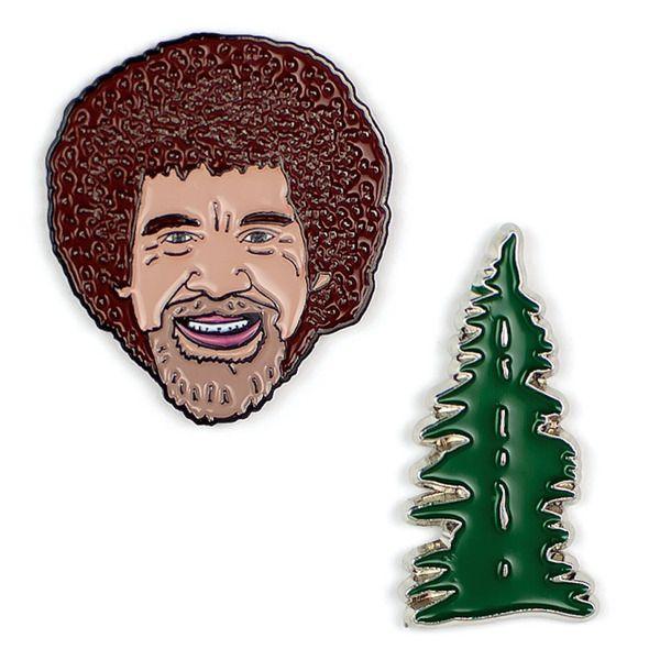 The Bob Ross & Happy Little Tree Enamel Pin Set