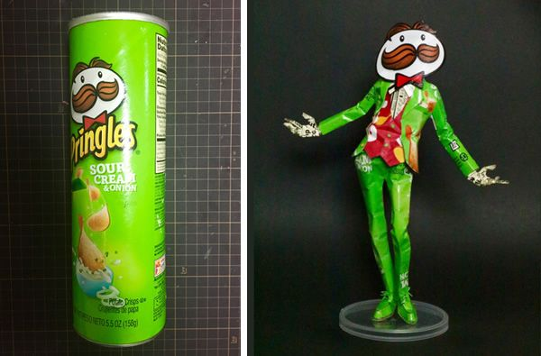 Stylisth Pringles Mascot Made from an Empty Pringles Can